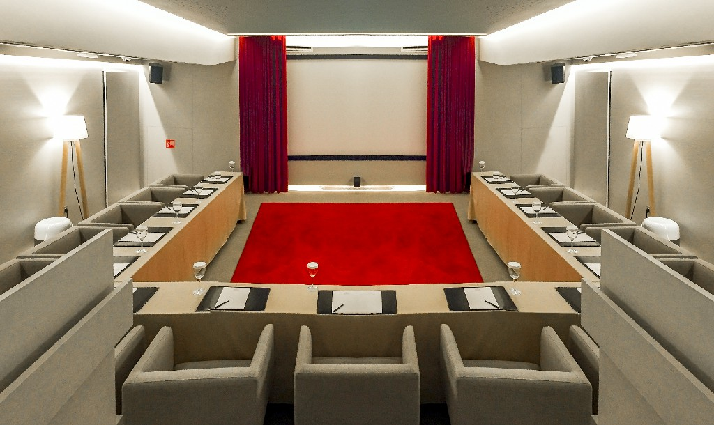 Screening room meeting